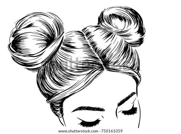 Woman Double Space Buns Fashion Illustration Stock Vector