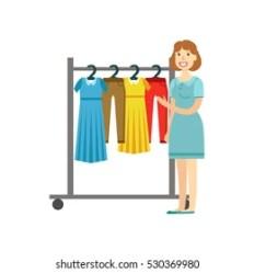 Woman Choosing Clothes Cartoon Images Stock Photos & Vectors Shutterstock