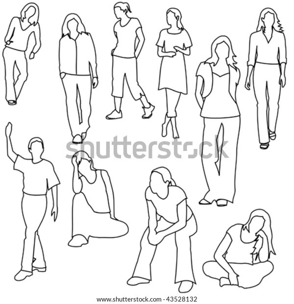 Women Casual Line Style Set Stock Vector (Royalty Free