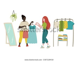 Women Shopping Clothes Store Flat Cartoon Stock Vector Royalty Free 1587228418