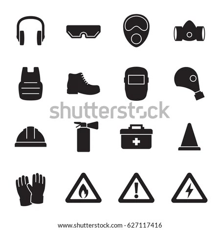 Work Safety Protection Equipment Icons Set stockvector