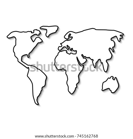 World Map Black Line Outline Minimal Stock Vector (Royalty