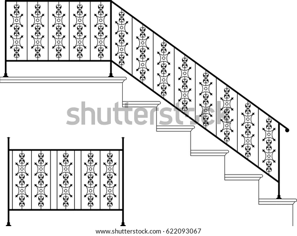 Wrought Iron Stair Railing Design Vector Stock Vector Royalty   Stairs Railing Designs In Iron   Rot Iron Staircase   Vertical   Stairway   Grill   Modern