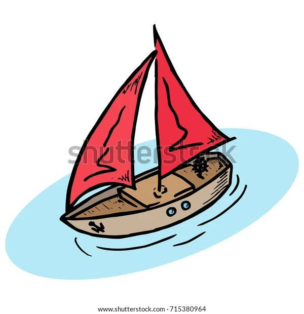 yacht red sail wooden