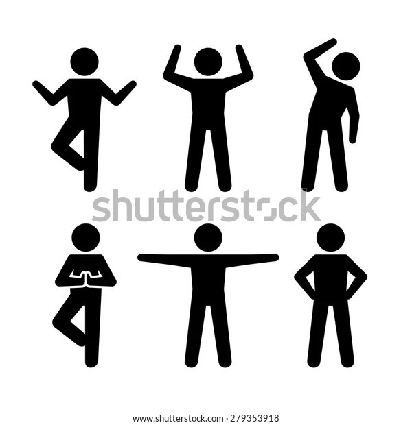 Yoga Fitness Positions Black Silhouettes Human Stock