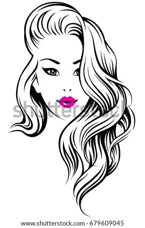 Young Beautiful Girl Curly Hair Illustration Stock Vector