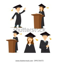 student cartoon vector character graduate graduation shutterstock university young college students successful