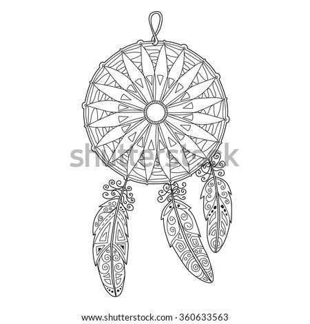 Zentangle Dream Catcher Feathers Adult Anti Stock Vector