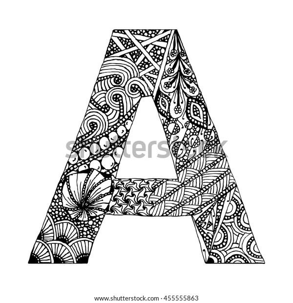 Zentangle Stylized Alphabet Letter Doodle Style Stock