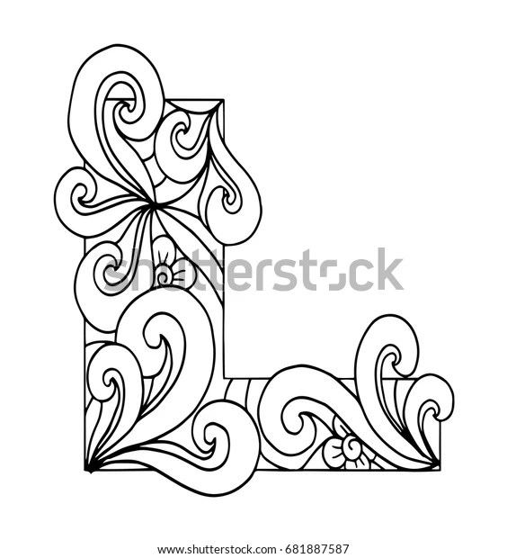 Zentangle Stylized Alphabet Letter L Doodle Stock Vector