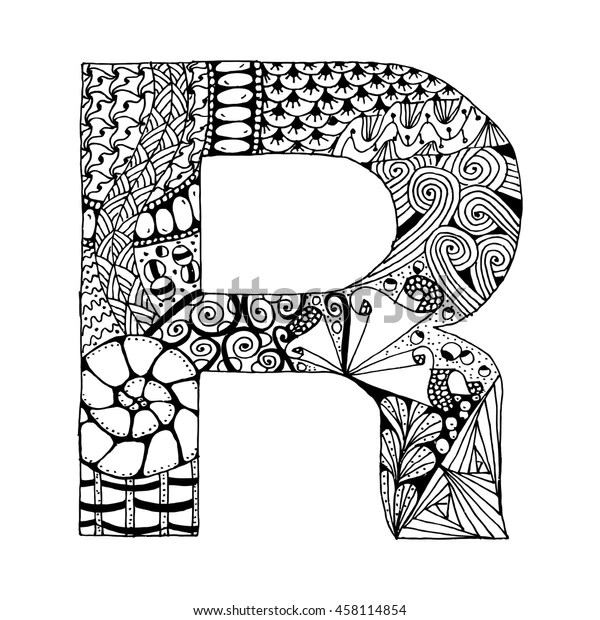 Zentangle Stylized Alphabet Letter R Doodle Stock Vector