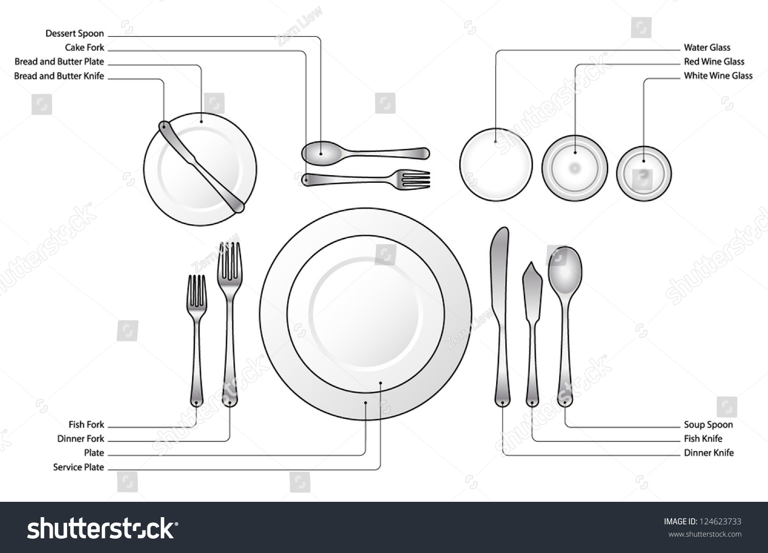 hight resolution of diagram place setting for a formal dinner with soup and fish courses with text