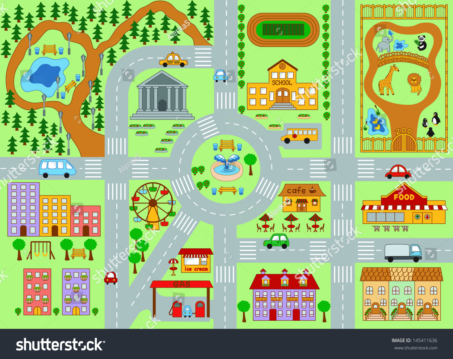 City Map For Kids Stock Photo