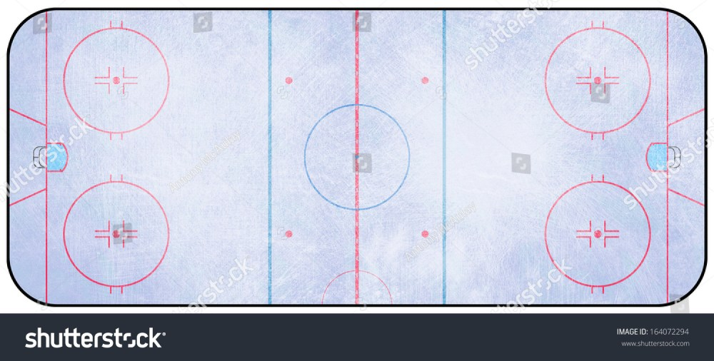 medium resolution of an overhead view of an ice hockey rink complete with markings 164072294