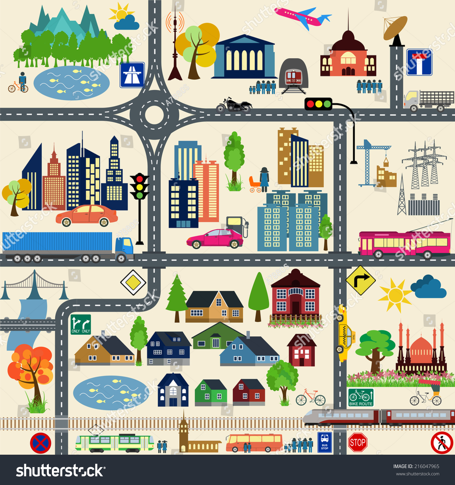 Modern City Map Elements For Generating Stock Photo