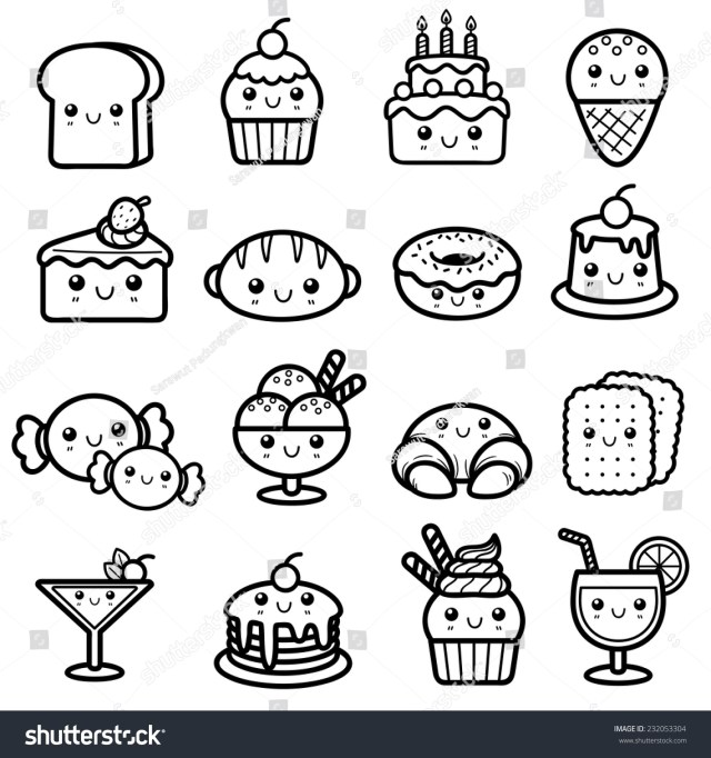 Vector illustration of Dessert - Coloring book - Royalty Free
