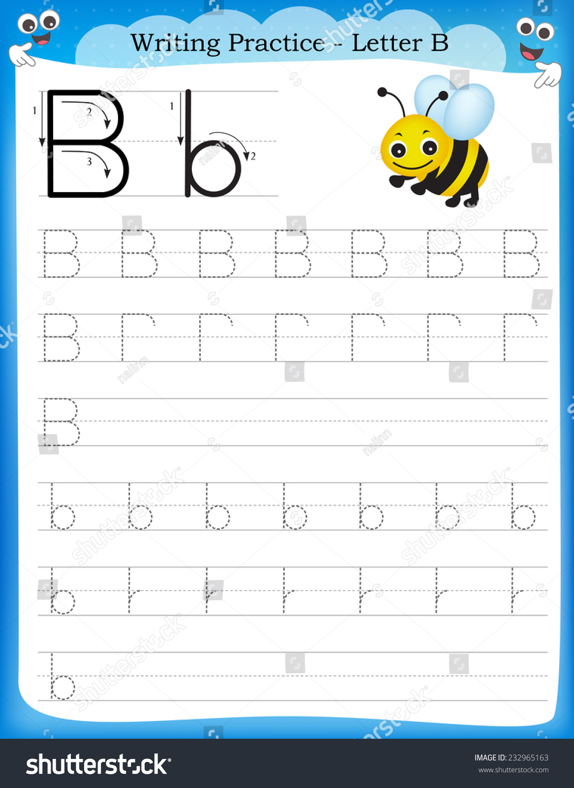 Writing Practice Letter B Printable Stock Photo
