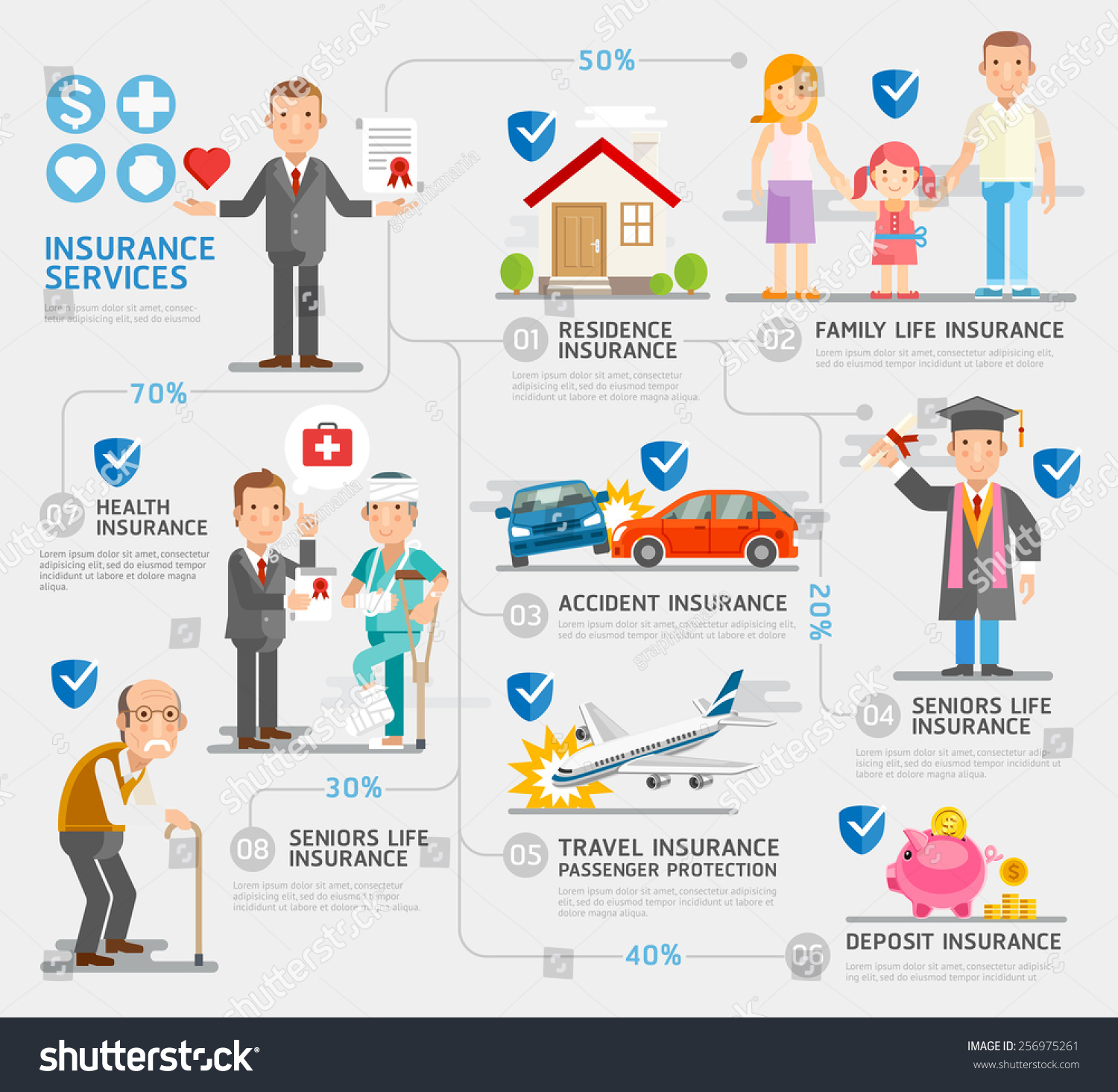 Business Insurance Character And Icons Stock Photo