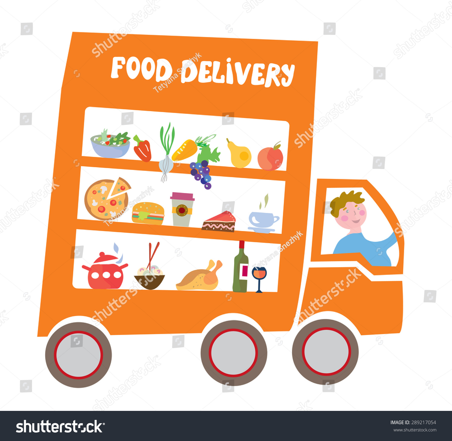Food delivery cartoon  with track and Stock Photo