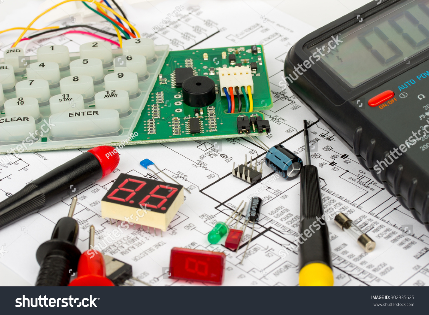 hight resolution of alarm workbench electronics repair stock photo 302935625 avopix com electronic resistance circuit diagram connections royalty free stock