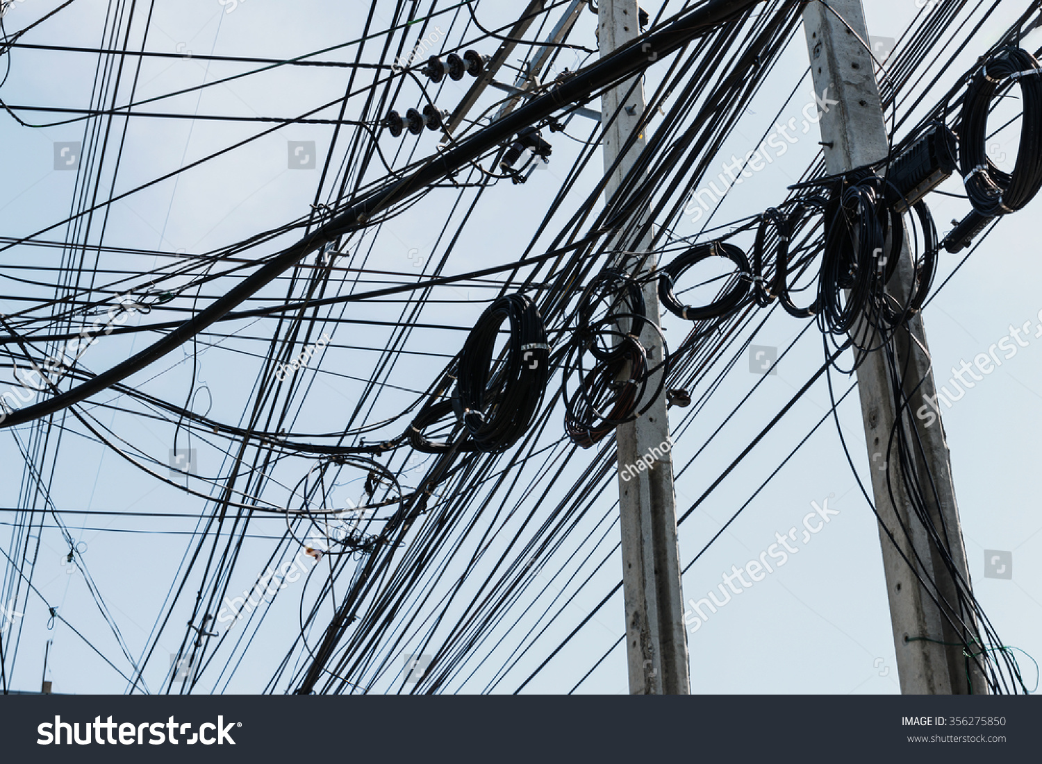 hight resolution of electrical cables with telephone lines tangled messy in bangkok city thailand 356275850
