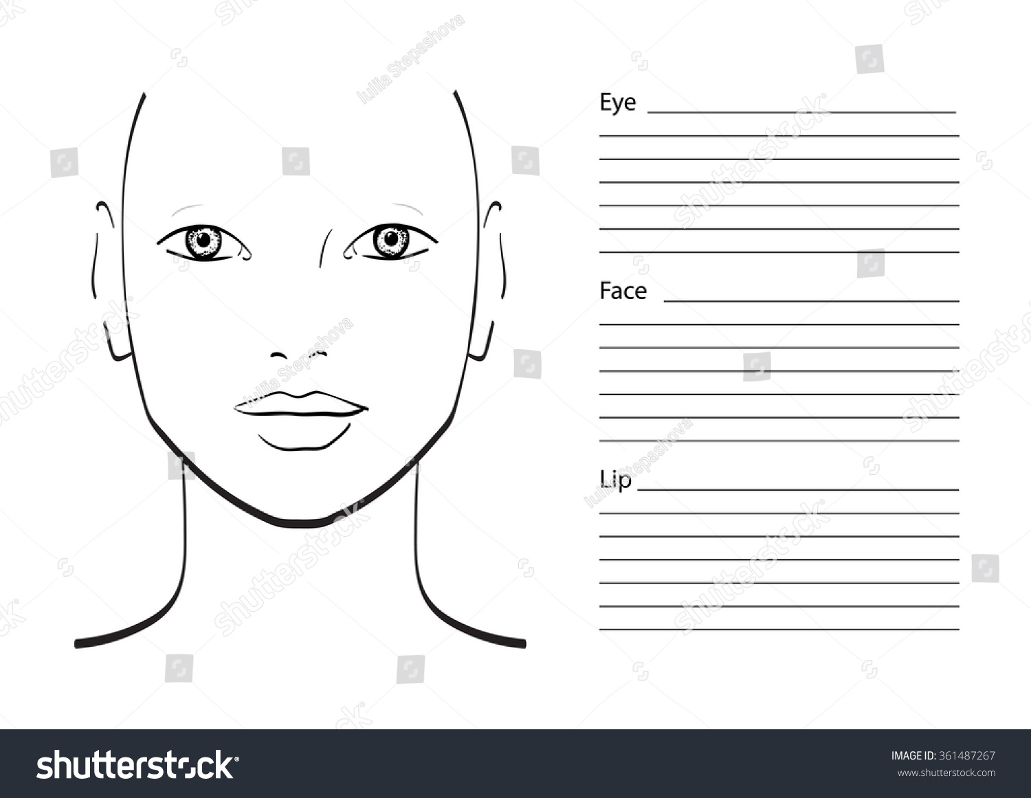 Royalty Free Face Chart Makeup Artist Blank