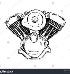 vector ink sketch of motorcycle engine retro hand sketched illustration [ 1500 x 1404 Pixel ]