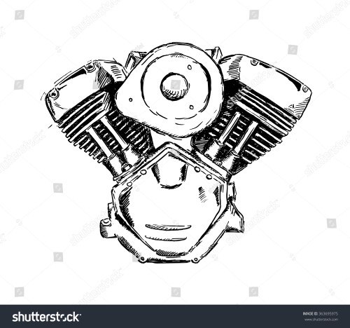 small resolution of vector ink sketch of motorcycle engine retro hand sketched illustration