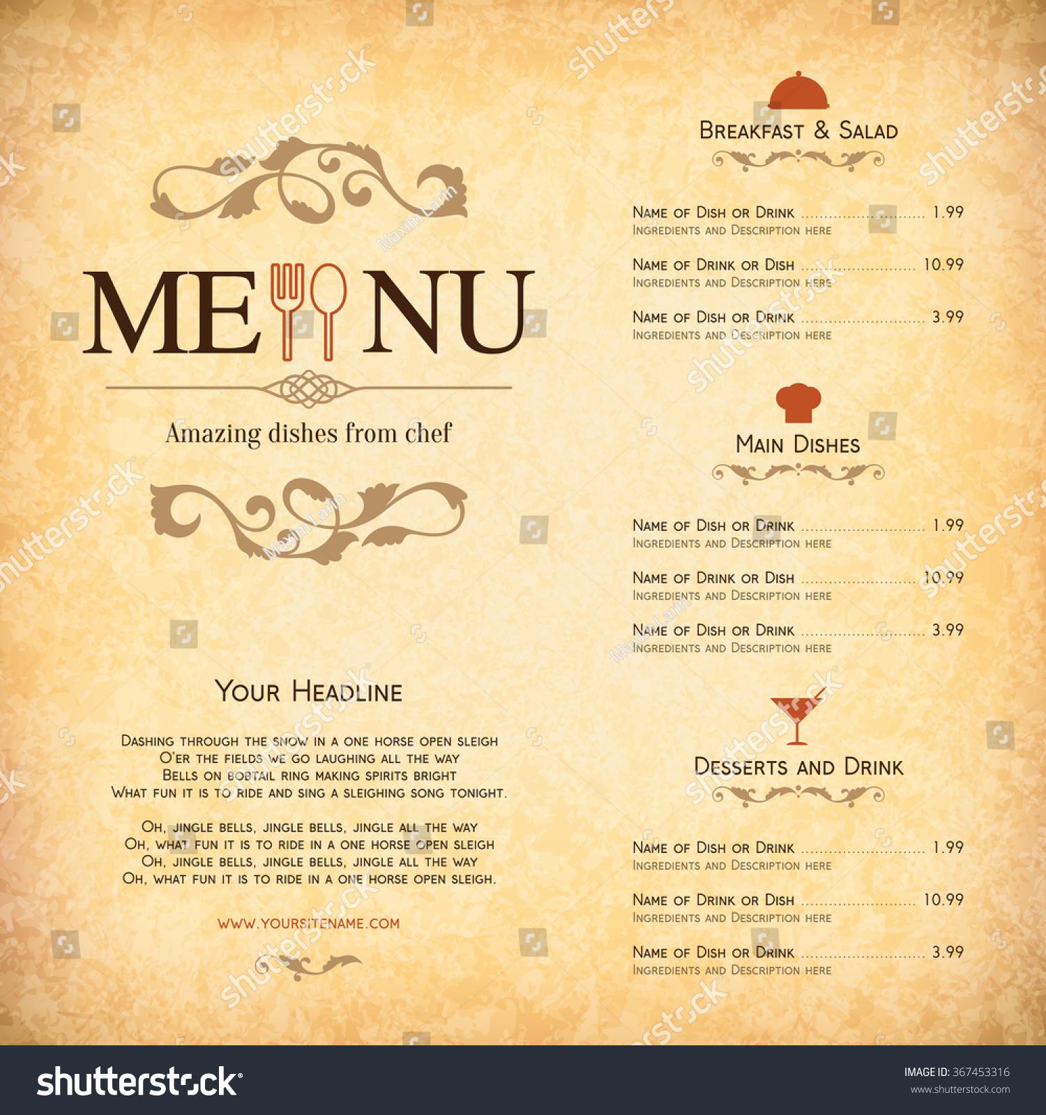 Vector Brochure Template For Cafe, Coffee House, Restaurant, Bar