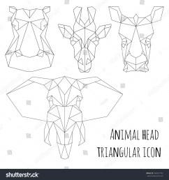 animal head triangular icon geometric trendy line design vector illustration ready for tattoo or coloring book animal africa elephant giraffe  [ 1500 x 1600 Pixel ]