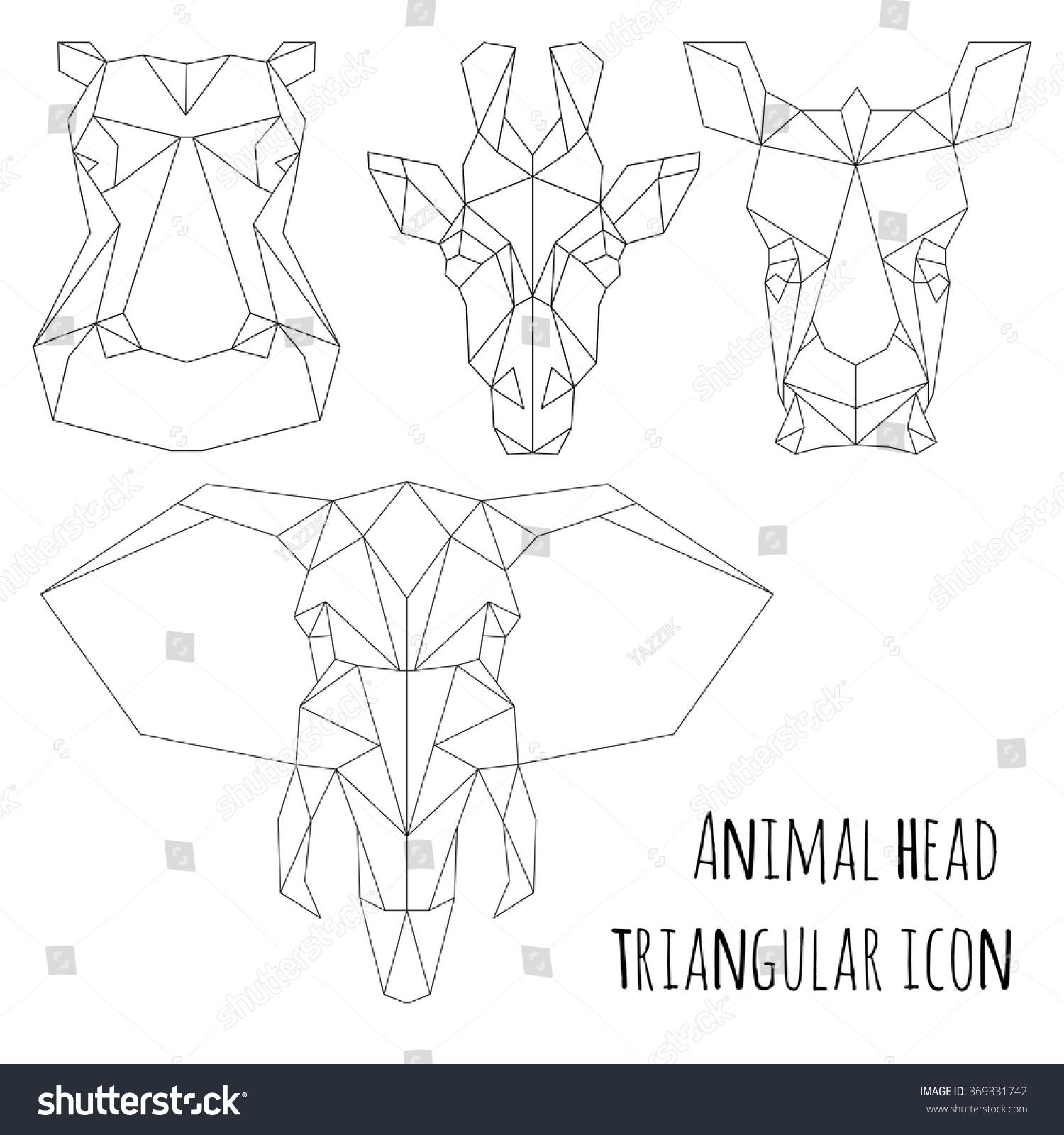hight resolution of animal head triangular icon geometric trendy line design vector illustration ready for tattoo or coloring book animal africa elephant giraffe