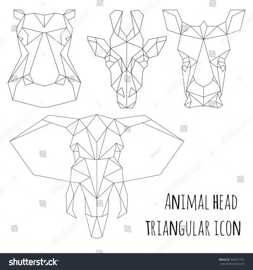 small resolution of animal head triangular icon geometric trendy line design vector illustration ready for tattoo or coloring book animal africa elephant giraffe