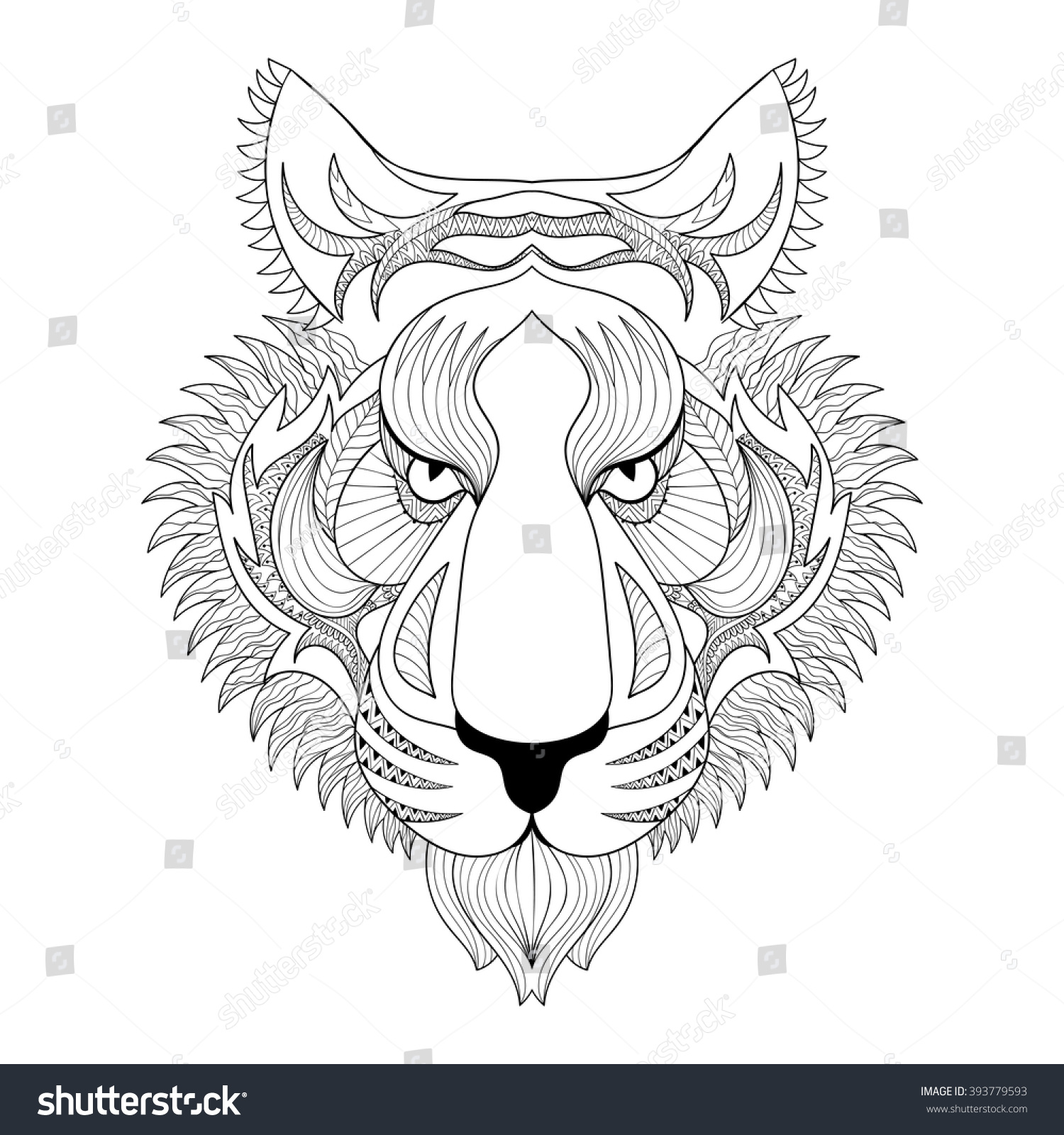 Vector Tiger Zentangle Tiger Face Stock Photo