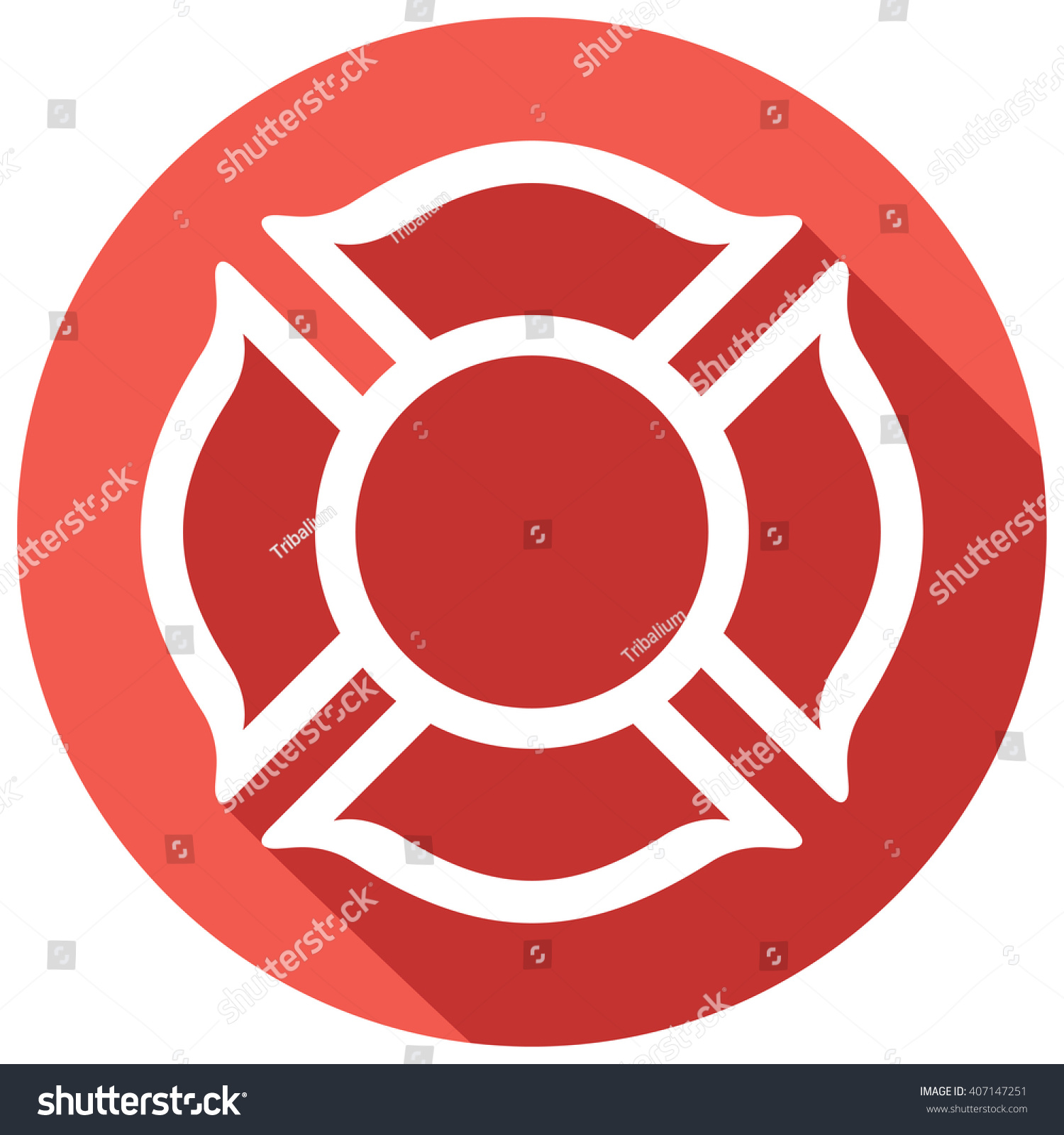 hight resolution of fire department or firefighters maltese cross symbol flat icon 407147251