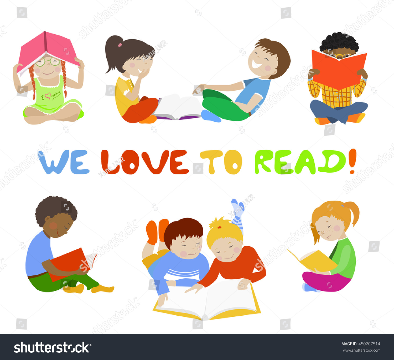 Vector Set Of Reading Kids Collection Stock Photo