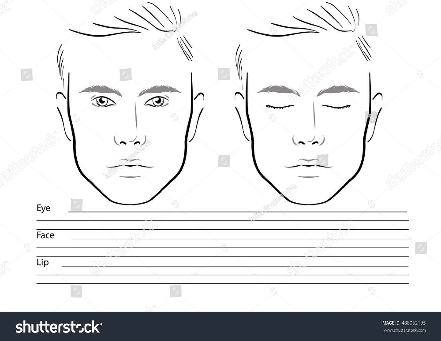 Men Face Chart Makeup Artist Blank Stock Photo