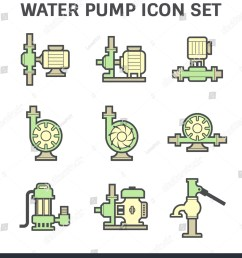 vector icon of electric water pump and steel pipe for water distribution isolated on white background [ 1364 x 1600 Pixel ]