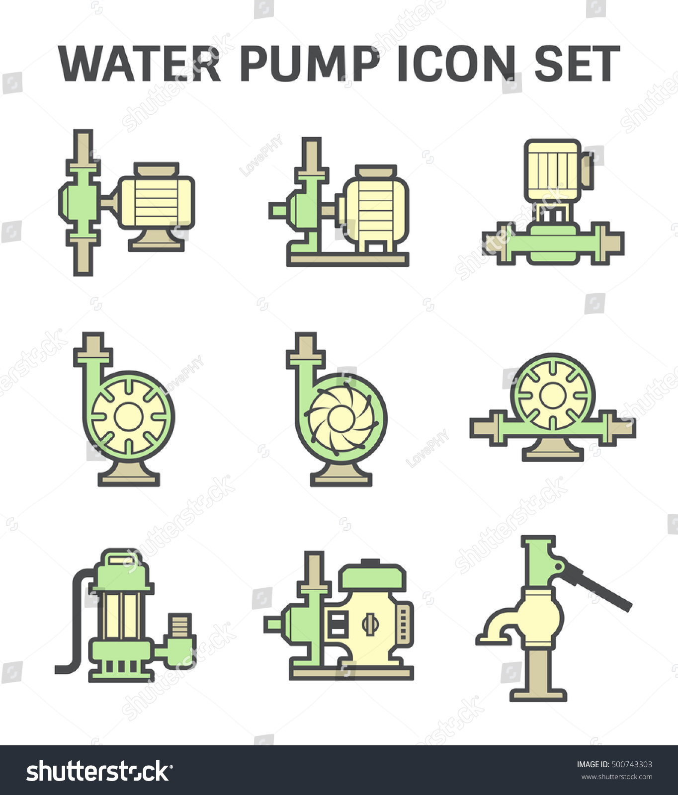 hight resolution of vector icon of electric water pump and steel pipe for water distribution isolated on white background