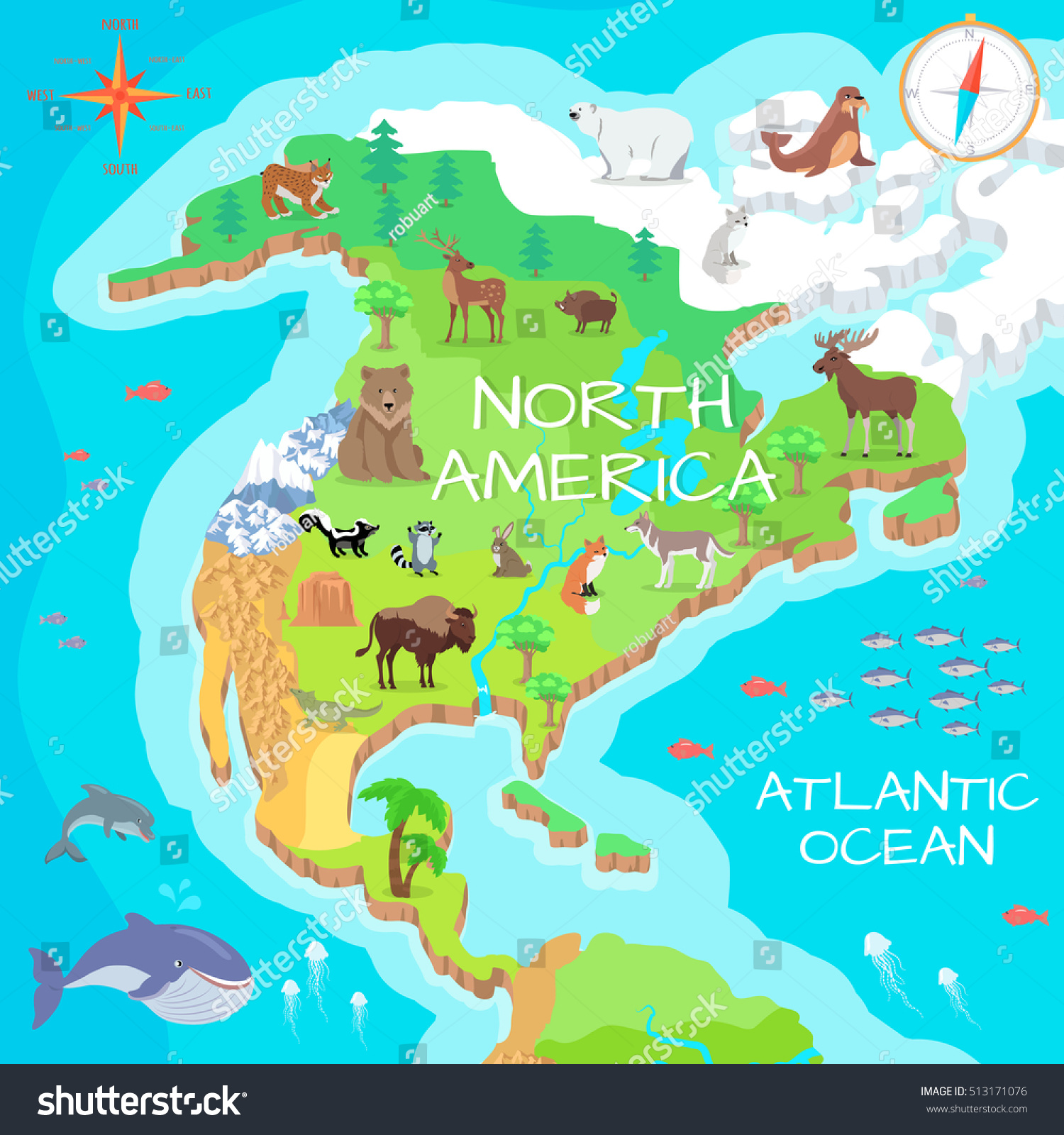 North America Isometric Map With Flora Stock Photo