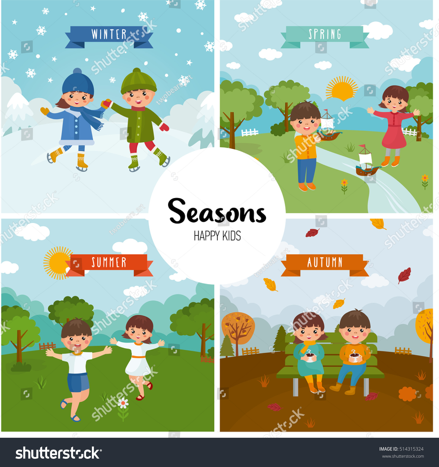 Large Set Of Seasons Beautiful Scenery Stock Photo