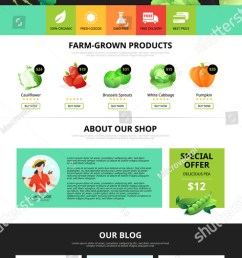 best organic farm eco food shop of vegetarian products web page flat vector illustration [ 759 x 1600 Pixel ]