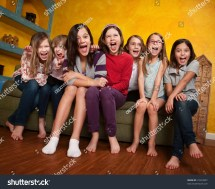 Royalty-free Group Of Happy Barefoot Girlfriends