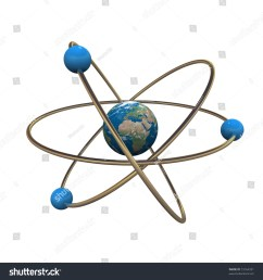 3d atom model with earth in center [ 1500 x 1600 Pixel ]