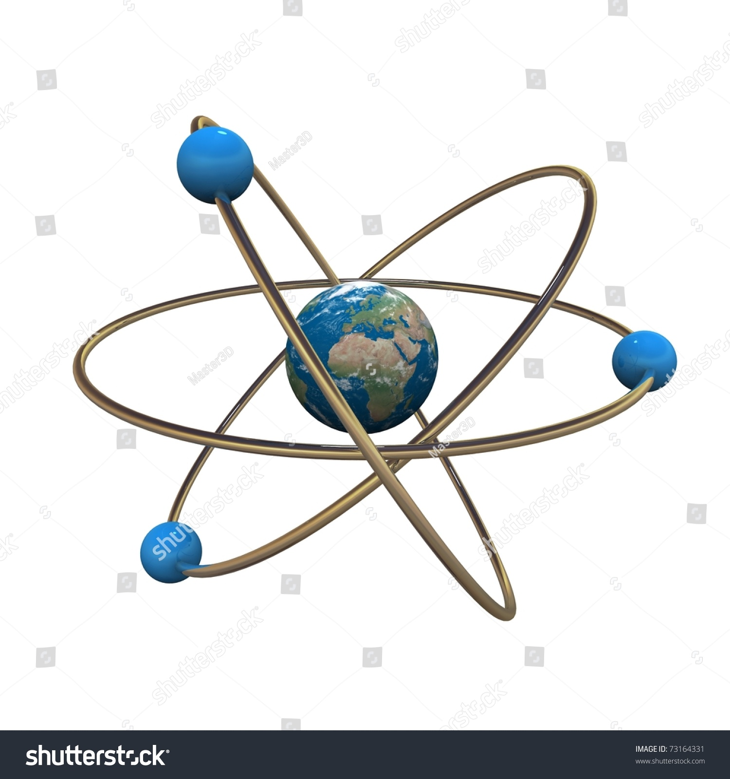 hight resolution of 3d atom model with earth in center