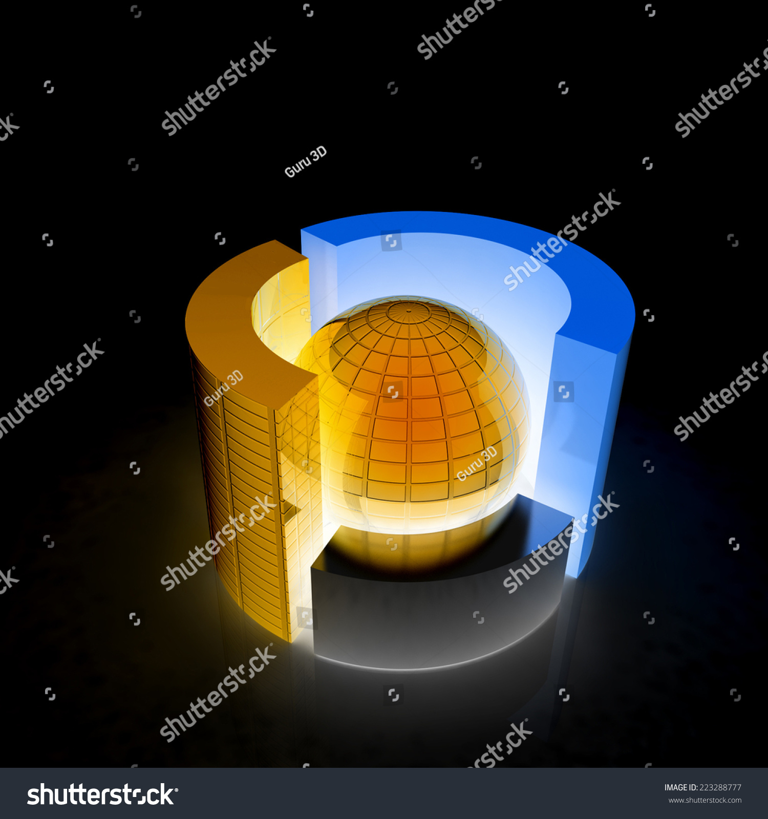 hight resolution of 3d circular diagram and sphere on black background