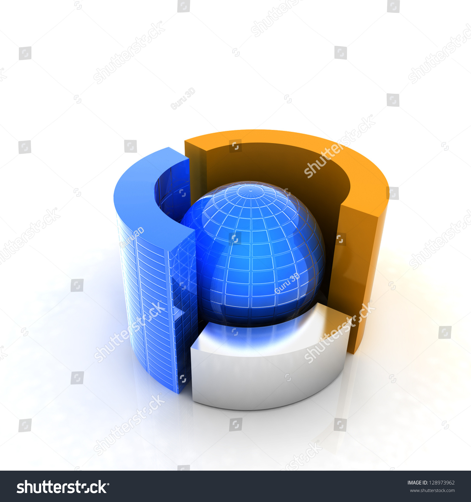 hight resolution of 3d circular diagram and sphere on white background
