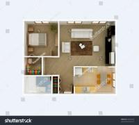 3d Floor Plan Top View. Apartment Interior Aerial. Kitchen ...