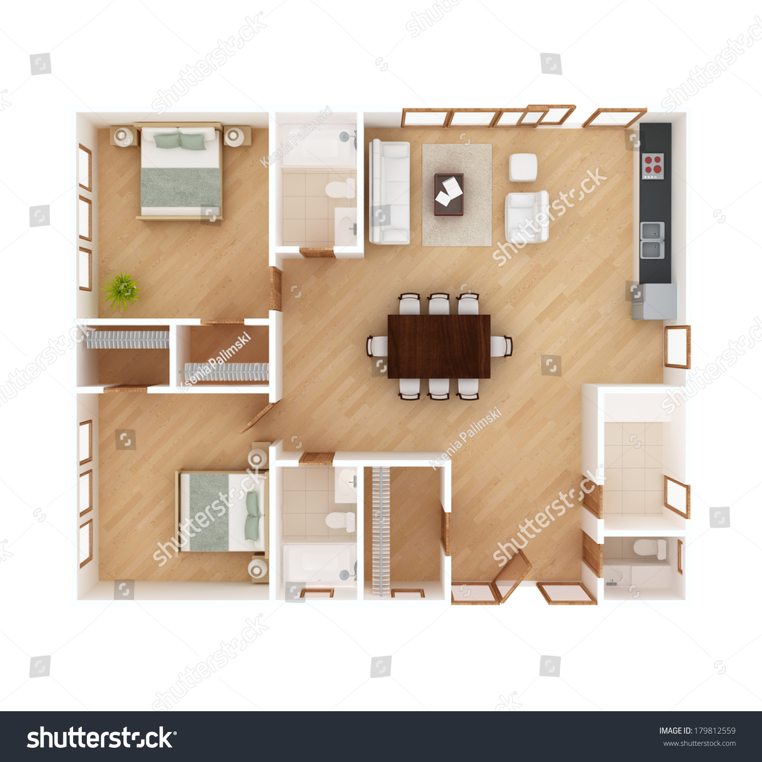 3d Floor Plan Top View House Stock Illustration 179812559