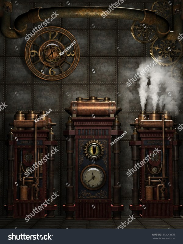 3d Illustration Of Steampunk Background. Misc