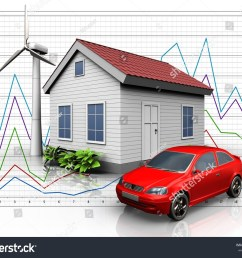 3d illustration of wind energy house with car over diagram background [ 1500 x 1225 Pixel ]